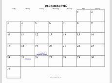 December 1916 Calendar