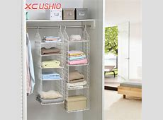 Folding Wardrobe Clothes Underwear Storage Rack Hooks Home