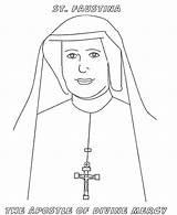 Coloring Mercy Divine Faustina Nun Saints Catholic Sunday Saint Colouring Sheet Feast Sister Printable Crafts Celebrating Activities Religious Et Saintes sketch template