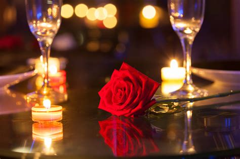 romantic dinner setting stock photo  image