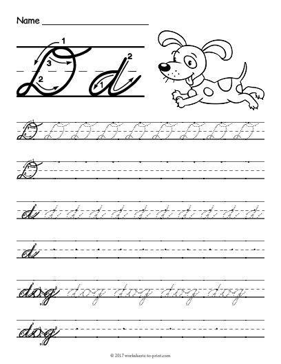 free printable cursive d worksheet cursive writing