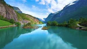 beautiful, nature, norway, natural, landscape, , aerial, footage, lovatnet, lake, , stock, footage, video