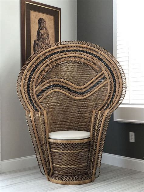 vintage rattan wicker peacock throne chair with black