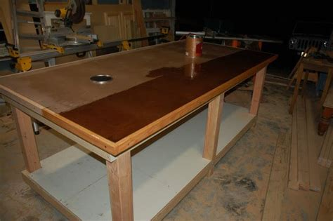 workbench build mdf  hardboard top  oak edges