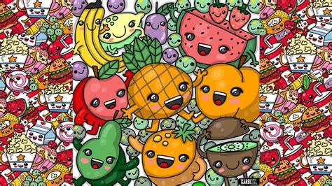 draw party kawaii fruits  garbi kw youtube