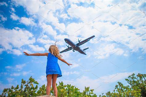 adorable  child girl    sky  flying