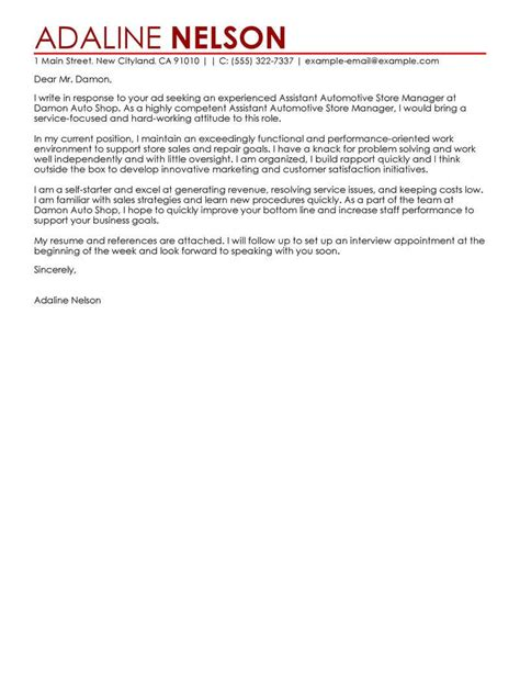 Cover Letter Sle For Assistant Manager by Best Retail Assistant Store Manager Cover Letter Exles
