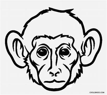 Monkey Coloring Face Pages Drawing Printable Realistic