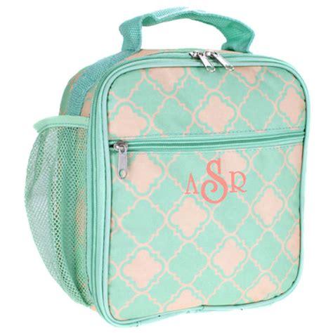 monogram quatrefoil pattern cooler lunch bag