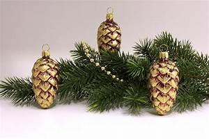 Weihnachtskugeln Aus Lauscha : 3 tannenzapfen 6cm stierglanz mit goldglitter ~ Orissabook.com Haus und Dekorationen