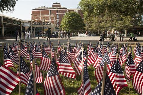 flag display ushers memorial day ceremony uc davis