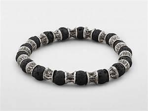 Lava Beads, Oxidized Sterling Silver Bracelet