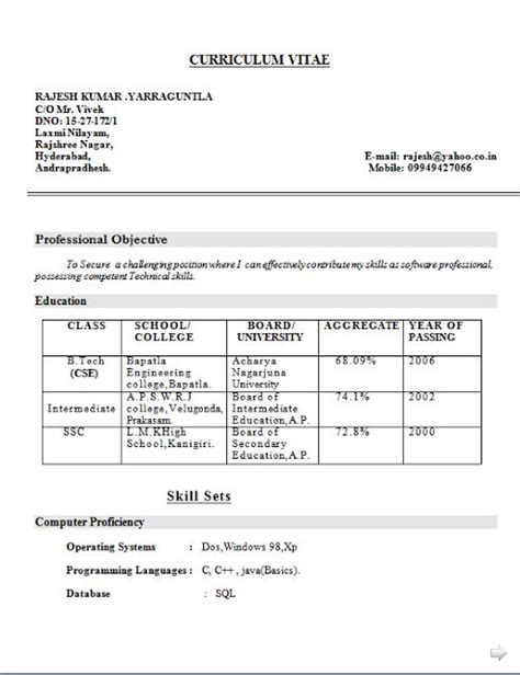 Cv Proforma Word by Curriculum Vitae Proforma Free Sle Template