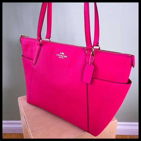 coach ava tote hot pink ruby pebble leather gold  large purse diaper bag ebay