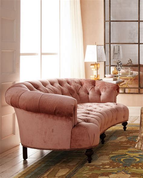 hickory tannery brussel blush tufted sofa