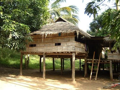 wood bamboo house  karen village uthai thani thailand