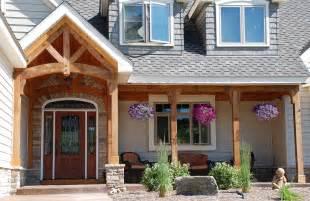 brick backsplash in kitchen cedar porch posts entry traditional with cedar porch posts