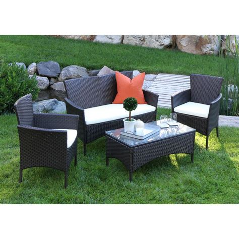 walker edison furniture company brown rattan 4 patio