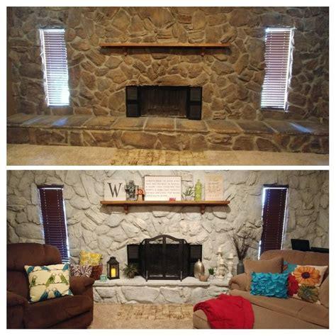 whitewash stone fireplace beforeafter whitewash stone