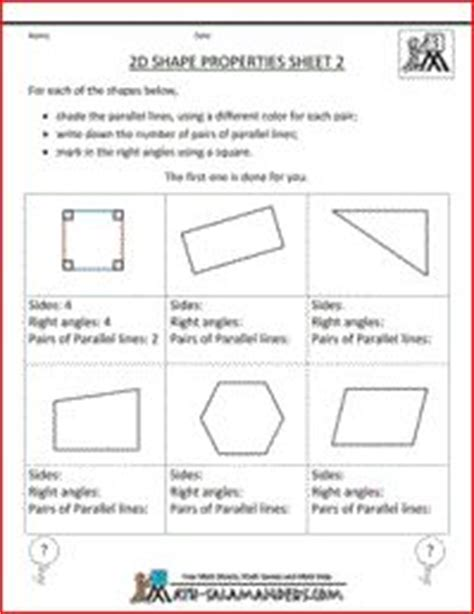 2d shape properties printable geometry sheet to identify parallel lines and right angles