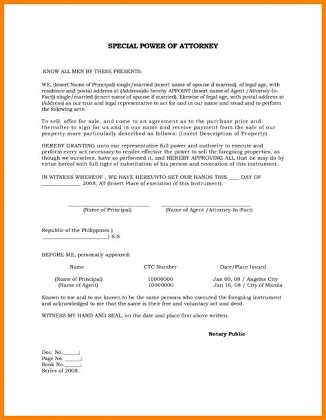 power  attorney sample template business