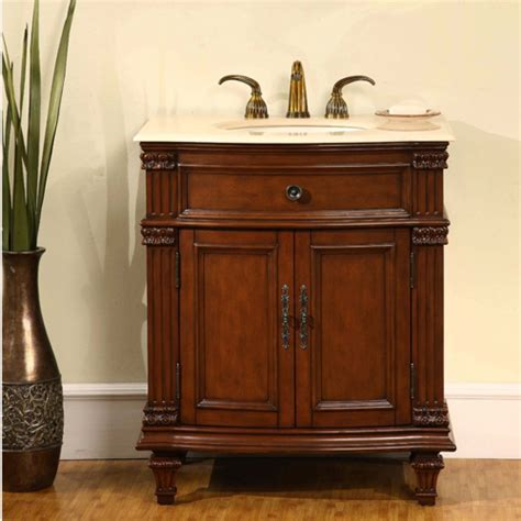 30.5 Inch Single Sink Bathroom Vanity with Marble Counter