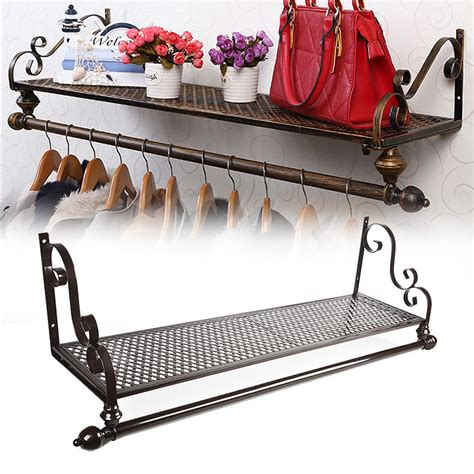 furniture for heavy new retro metal clothes rail wall mounted garment hanging 3677