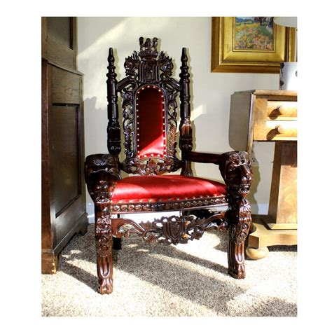 childs   mahogany lion king throne chair queen prince princess red velvet throne chair