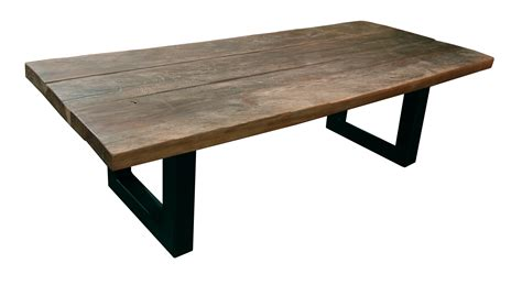 table basse bois de fer brut