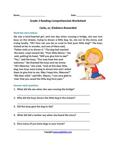 reading comprehension worksheets 2nd grade pdf 3 worksheet