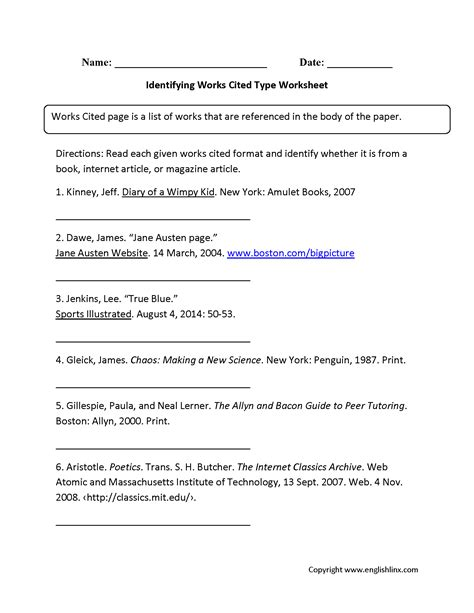 bibliography worksheets for 5th grade worksheet exle