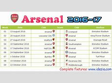 Arsenal FC Fixtures & Results 20162017 Cavpo