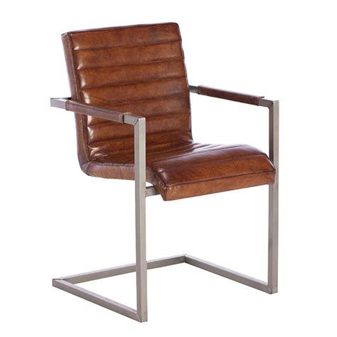 titus chair vintage leather dining chair light brown