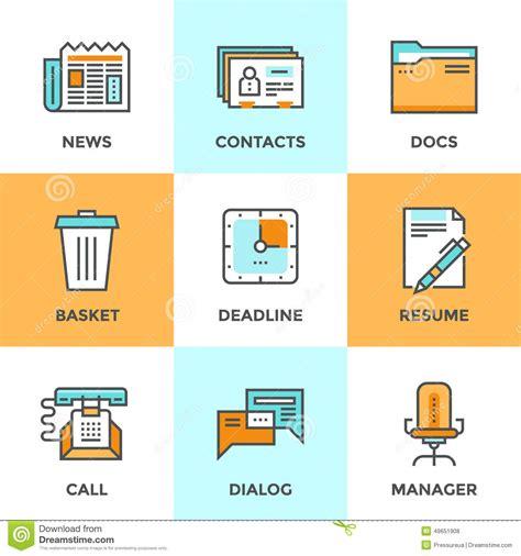 icones de bureau ligne icônes de choses de bureau réglées illustration de