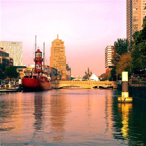 Download Wallpaper Rotterdam, River, City Free Desktop