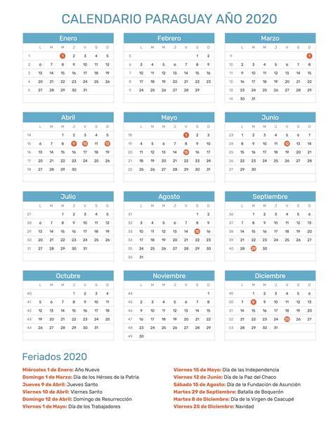 calendario de paraguay ano feriados