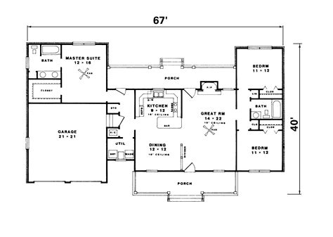 Kings Ferry Country Ranch Home Plan 069d-0010