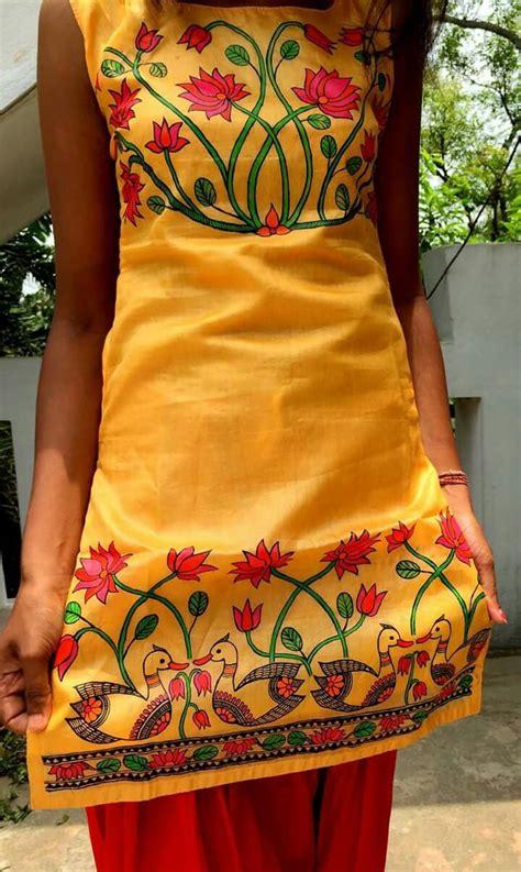 pin  archana deshkar  madhubani hand painted fabric