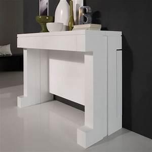 Table Console Extensible : table console extensible laqu e blanc mobilier ~ Teatrodelosmanantiales.com Idées de Décoration