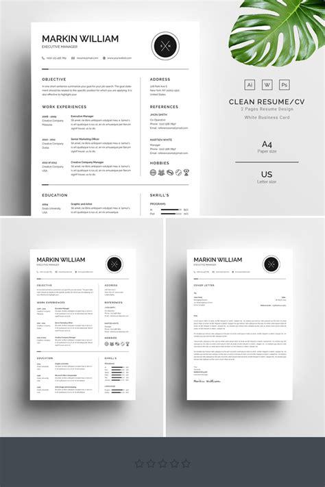 Chronological Resume Minimalist Design by Markin William Minimal Resume Template 67728