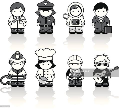 13180 career clipart black and white occupations icons vector getty images