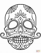 Skull Coloring Sugar Pages Printable Adult Skulls Print Sheets Animal Mustache Supercoloring Craft Unique sketch template