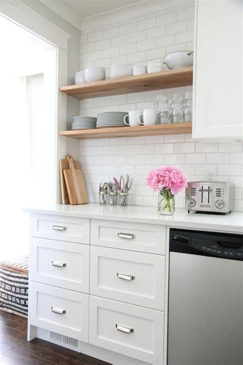 Home Depot White Subway Tile Backsplash by Floating Kitchen Shelves Transitional Kitchen
