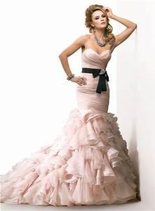 mermaid sweetheart layered blush pink organza wedding With blush pink wedding dress