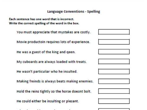 years 7 and 9 naplan practice language conventions