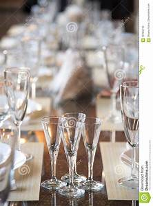 Table Setting In The Restaurant  Including Glasses For Wine  Champagne And Cognac  Napkins And
