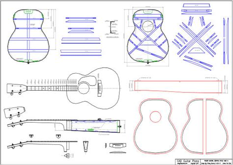 Cad Tenor Acoustic Guitar Plan Martin Style Size 0 Cad