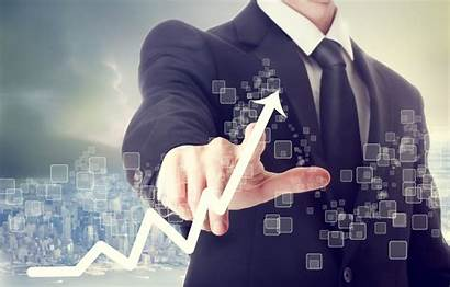 Business Starting Guidance Powerful Businessman Touching Indicating