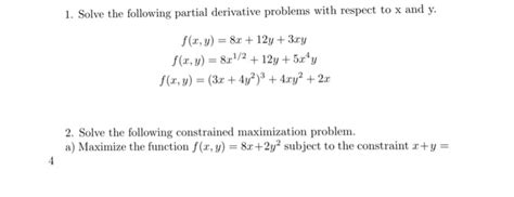solved solve the following partial derivative problems wi chegg