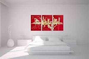 Tableau Triptyque Moderne : triptyque abstrait rouge panoramique design tableaux contemporains rouge rectangle ~ Teatrodelosmanantiales.com Idées de Décoration